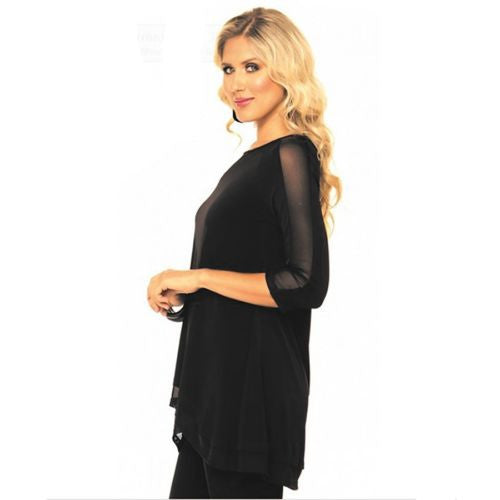 Alisha D Black Jersey Knit Scoop Neck Sheer Cut Out Top Asymmetrical Small or MediumM - ILoveThatGift