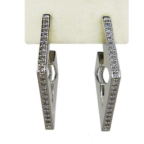 Nanni Silver Plated Diamond Shaped Channel Set Crystal Earrings Quatrefoil Cut - ILoveThatGift
