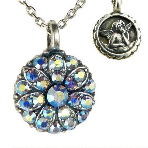 Mariana Guardian Angel Crystal Pendant Necklace 211AB Crystal Vitrail Light Blue - ILoveThatGift