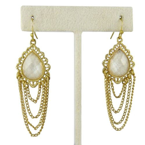 Uptown Girls Cream Gold Chain Teardop Earrings 0307420G Selena - ILoveThatGift