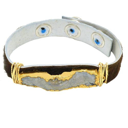 Gigi & Sugar Brown Hide Leather Gray Druzy Gold Wire Snap Bracelet Handmade - ILoveThatGift