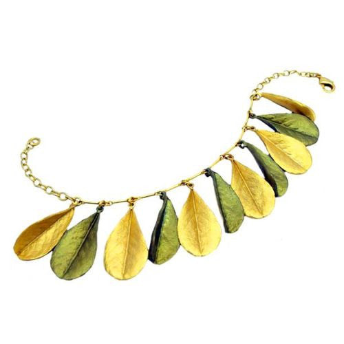 False Indigo Leaf Gold Patinaed Bracelet by Michael Michaud Baptisia 7255 - ILoveThatGift