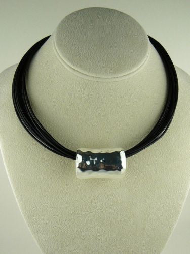 Simon Sebbag Sterling Hammered Silver Slide Bead 69 for Leather Necklace - ILoveThatGift