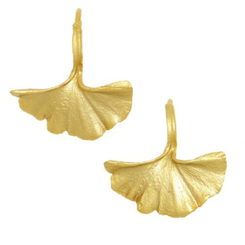 Ginkgo Leaf  Gold Earrings by Michael Michaud Nature Silver Seasons - ILoveThatGift