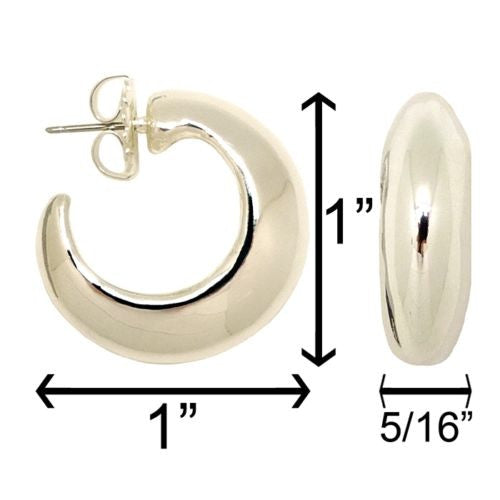 Simon Sebbag Sterling Silver Smooth Hoop Huggie Earring E2870 - ILoveThatGift