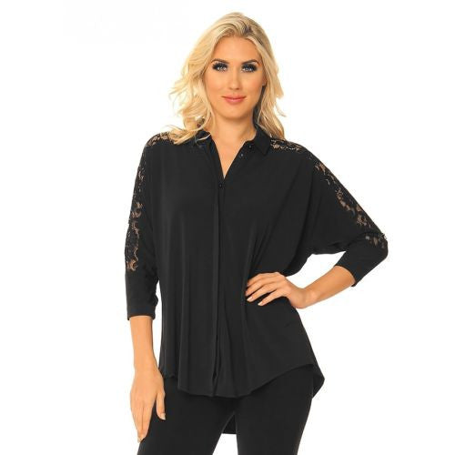 Alisha D Black Lace Shirt Collar Cuff Jacket S M L XL Polyester - ILoveThatGift