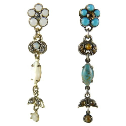 Amaro P485 Post Earrings Flower Dangle Swarovski Crystals Silver Moonstone - ILoveThatGift