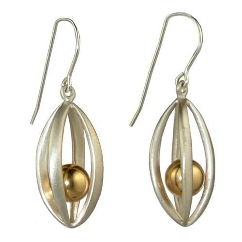 Betsy Frost Design Handmade Sterling Silver 925 Earrings Ball & Cage Gold - ILoveThatGift