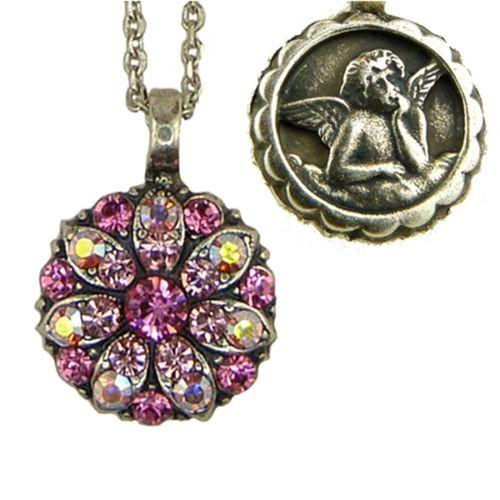 Mariana Guardian Angel Crystal Pendant Necklace 3111 Indian Pink Clear AB - ILoveThatGift