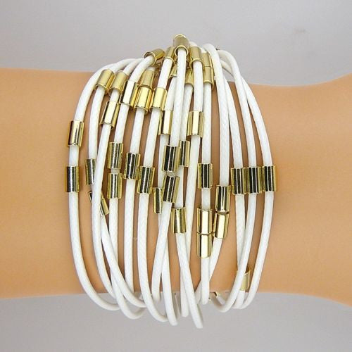 Nanni 18 K Gold Plated Round Metal Tube White Leather Cord Bracelet - ILoveThatGift