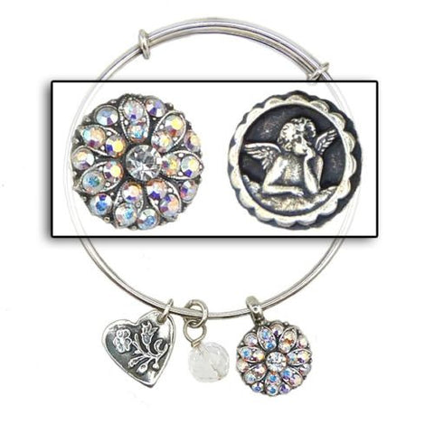 Mariana Guardian Angel Crystal Pendant Charm Bangle Bracelet 001AB Clear AB - ILoveThatGift