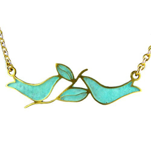 No Secret 2 Doves Woman's Gold Plated Patina Pendant Necklace Orit Grader - ILoveThatGift
