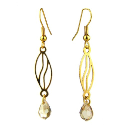 Coffee Drop Gold Plated Open Fretwork Earrings Crystal Dangle Orit Grader 816G - ILoveThatGift