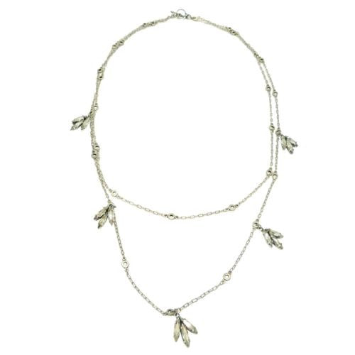 La Vie Parisienne Silver Convertible Clear Crystal Leaves Chain Necklace 1450 - ILoveThatGift