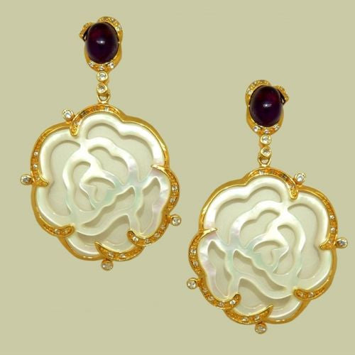 Cristina Sabatini Carved Rose Earrings MOP in 14K Gold and Amethyst - ILoveThatGift