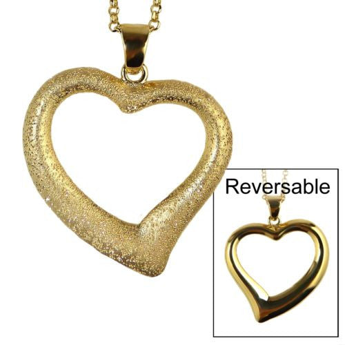 Charles Garnier 18KT Gold over SSilver Large Open Heart Necklace Wear 2 ways - ILoveThatGift