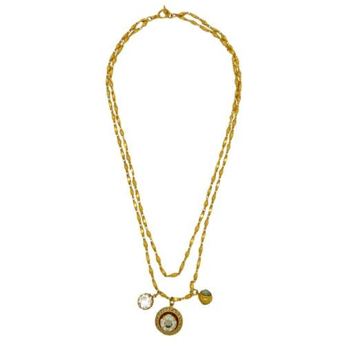 La Vie Parisienne Gold Convertible Crystal Necklace Three Charm 1361G Popesco - ILoveThatGift