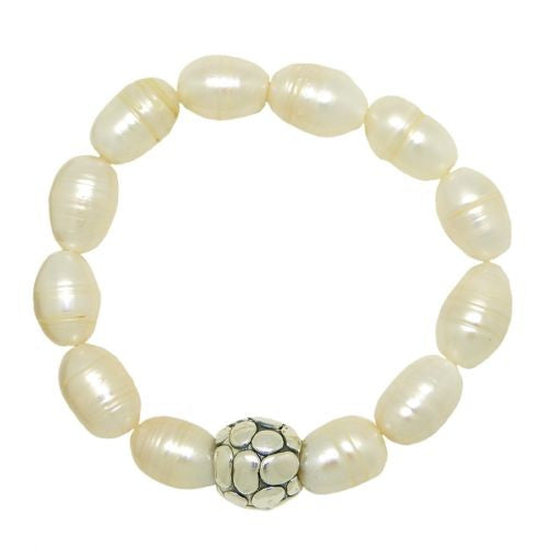 Simon Sebbag Stretch White Pearl Bracelet with Pebbled Sterling Silver 925 Bead - ILoveThatGift