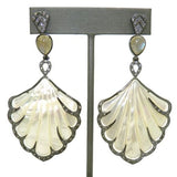 Cristina Sabatini Earrings MOP Shell Fan Earrings in Black Rhodium Labradorite - ILoveThatGift