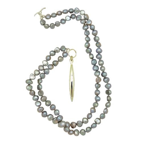 Convertible Gray Pearl Sterling Silver Simon Sebbag Necklace Tapered Pendant - ILoveThatGift