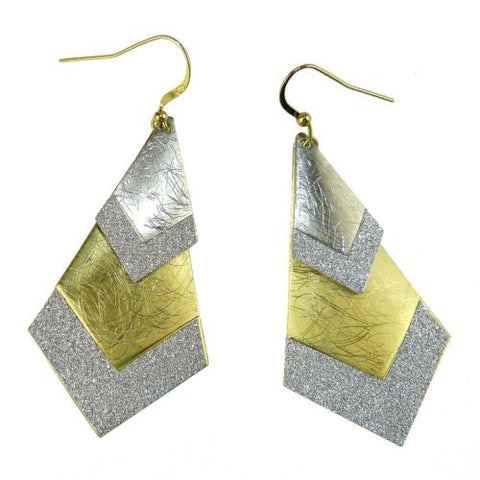 Gold tone Silver Sparkle Tapered Double Earrings RUSH Denis Charles - ILoveThatGift