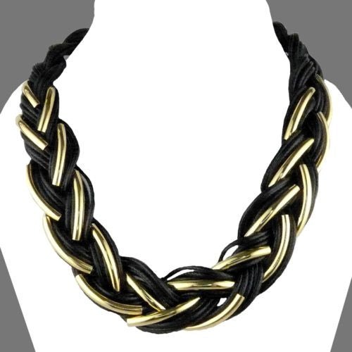 Nanni 18 K Gold Plated Detail on Black Braided Cord Necklace - ILoveThatGift