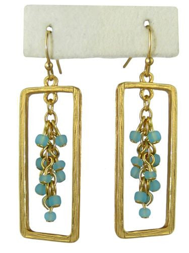 Uptown Girls Blue Satin Gold Rectangular Bead Earrings 0305316G - ILoveThatGift