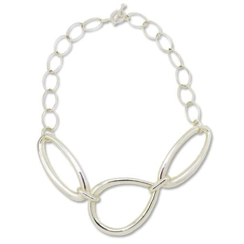 "Simon Sebbag Collar Necklace Sterling Silver Open Abstract Chain 19.5"" Choker CH - ILoveThatGift"