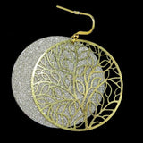 Gold tone Silver Sparkle Round Disc Earrings RUSH Denis Charles Abstract Tree Pa - ILoveThatGift
