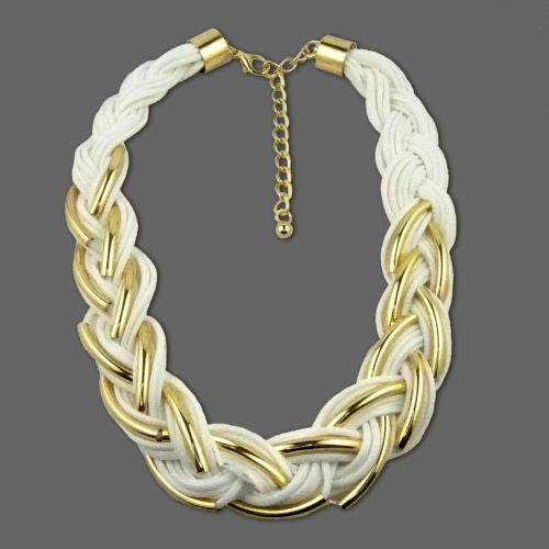 Nanni 18 K Gold Plated Detail on White Braided Cord Necklace - ILoveThatGift