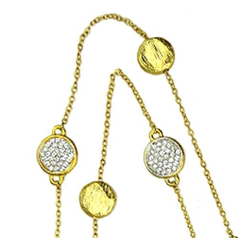 Brushed Gold Toned Bead and Pave Chain Necklace Siviglia Marco Bicego Inspired - ILoveThatGift