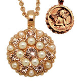 Mariana Guardian Angel Crystal Pendant Necklace M48362 Mai Tai Rose Gold Pearl L - ILoveThatGift