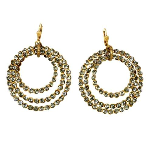 La Vie Parisienne Gold Triple Hoop Swarovski Crystal Earrings 4736G Black Diamon - ILoveThatGift