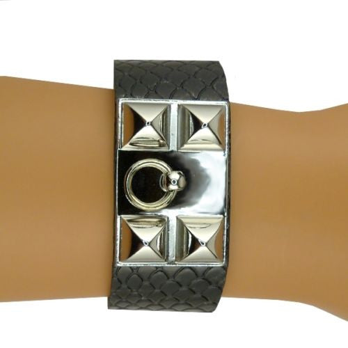CDC Collier De Chien Silver Pyramid Leather Cuff by RUSH Denis Charles Black Gra - ILoveThatGift