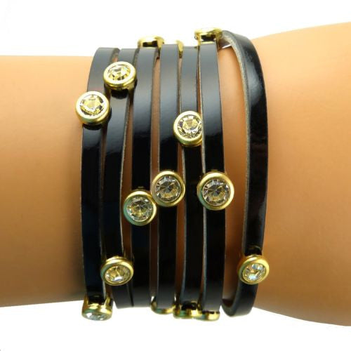 RUSH Denis & Charles Black Patent Leather Wrap Bracelet Gold CZ - ILoveThatGift