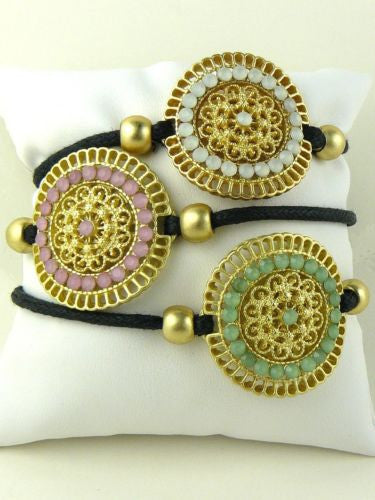 Pink Green or Blue Crystals & Matte Gold Filigree Disc Wrap Bracelet by Teramasu - ILoveThatGift