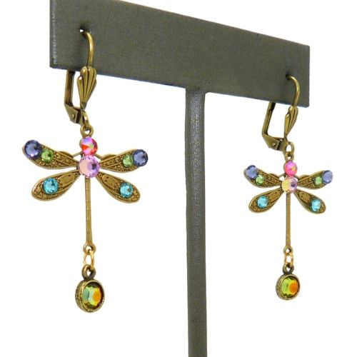 Anne Koplik Swarovski Crystal Dragonfly Drop Earrings ER4527MUL Multicolor Gold - ILoveThatGift