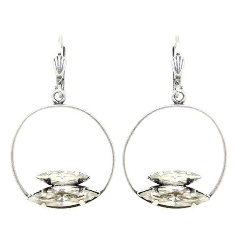 La Vie Parisienne Silver Round Hoop with Double Marquise Clear Crystal Earrings - ILoveThatGift
