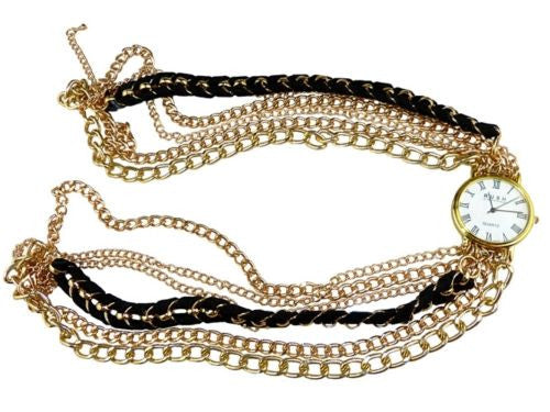Wrap Watch Bracelet Black Suede Gold Toned Chain by RUSH Denis Charles - ILoveThatGift