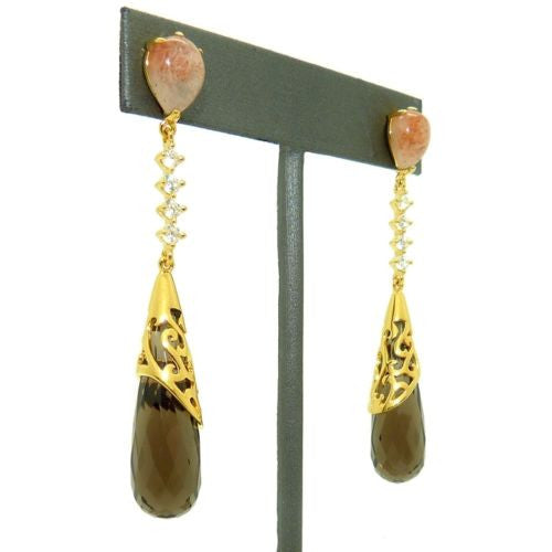 Cristina Sabatini Moon Drop Earrings14K Gold Sunstone Smokey Crystal - ILoveThatGift