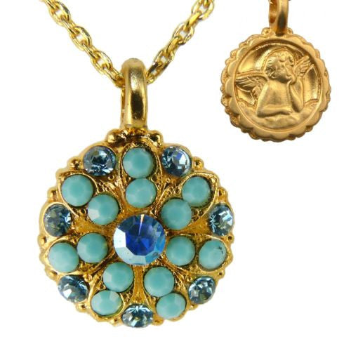 Mariana Guardian Angel Crystal Pendant Gold Necklace Turq Blue 2677 - ILoveThatGift