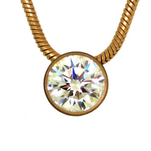 "B.Tiff Swarovski 1 Carat Solitaire CZ Rose Gold Stainless Steel Pendant 18"" Chai - ILoveThatGift"