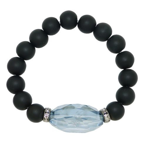 Gigi & Sugar Faceted Blue Smoke Oval Crystal Black Matte Beads Stretch Bracelet - ILoveThatGift
