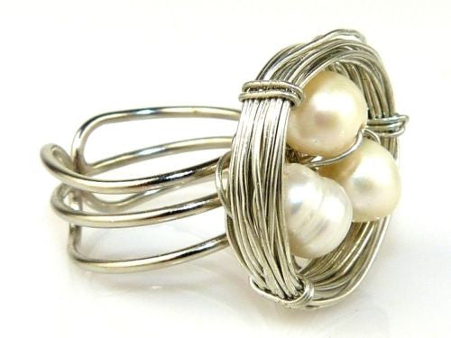 Hope Silver Wire Birds Nest White Pearl Ring Elly Preston - ILoveThatGift
