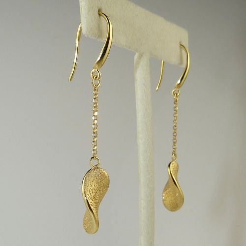Charles Garnier Fresia 18KT Gold over SSilver Single Leaf Drop Earrings Constell - ILoveThatGift