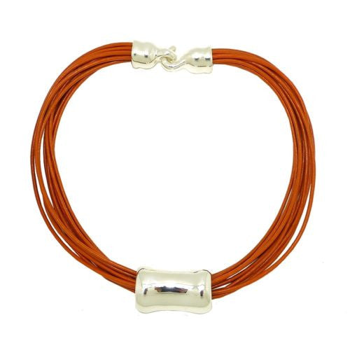 "Simon Sebbag Leather Necklace Tangerine Orange 17"" Add Sterling Silver Slide - ILoveThatGift"