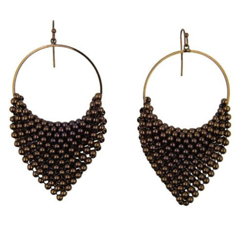 Draped Triangle Beaded Mesh Earrings Chocolate Brown or Gray Hematite by Funky J - ILoveThatGift