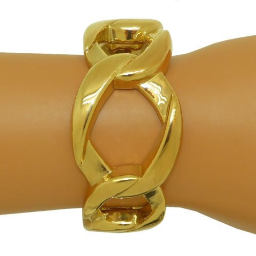 Simon Sebbag 24K Gold Plated Sterling Silver 925 Wide Chain Link Bangle Bracelet - ILoveThatGift