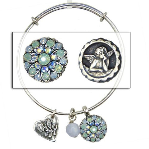 Mariana Guardian Angel Crystal Pendant Charm Bangle Bracelet 7171 Pacific Opal - ILoveThatGift