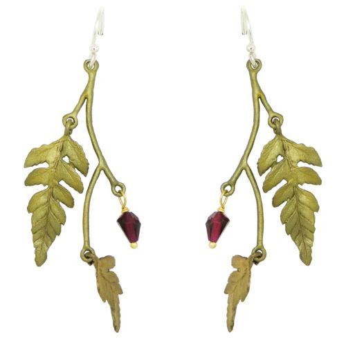 Fern Double Leaf Earrings with Garnet by Michael Michaud 3180 - ILoveThatGift